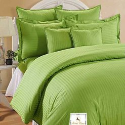 Double Bed Sheet 100% Cotton 200 TC Plain Satin Stripes in Olive Green Colour in Avioni Packing