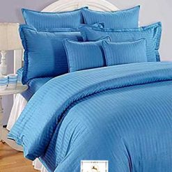 Avioni Double Bed Sheet 100% Cotton 200 TC Plain Satin Stripes in Blue Avioni Packing