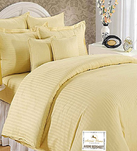 Double Bed Sheet 100% Cotton 200 TC Plain Satin Stripes in Beige Colour in Avioni Packing