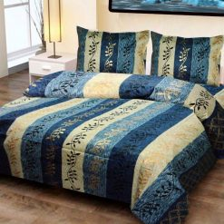 Jaipuri Gold Double Bedsheet 100% Cotton Blue Print