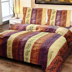 Double Bedsheet  Jaipuri Gold 100% Cotton Leaves Print