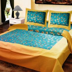 Double Bedsheet  Jaipuri Gold 100% Cotton Blue In Golden Border