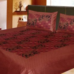 Avioni Jaipuri Gold Double Bedsheet in Royal Pink With Elephant Print Cotton Material