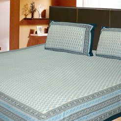 Double Bed Sheet Ethnic Print  Aqua With Border 100% Fine Cotton
