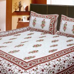 Double Bed Sheet Ethnic Beautiful Floral Red With White Color 100% Fine Cotton