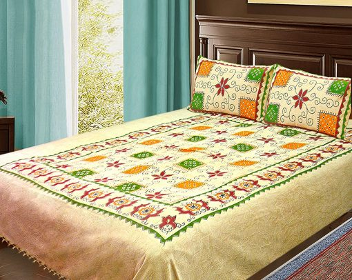 Double Bed Sheet Ethnic Print Beige With Beautiful Multicolor 100% Fine Cotton …