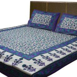 Jaipuri Printed 100% Cotton Double Bedsheet By Avioni