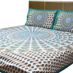 Printed Jaipuri Double Bedsheet 100% Cotton By Avioni (90 X 95 Inches)