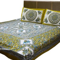 Jaipuri Printed Double Bedsheet 100% Cotton (90 X 95 Inches) By Avioni