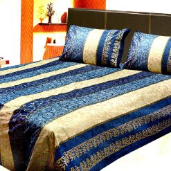 Avioni Jaipuri Gold Double Bedsheet in Navy Blue Colour
