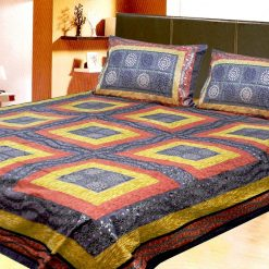 Avioni Jaipuri Gold Double Bedsheet in yellow and Pink Colour
