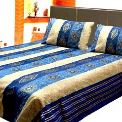 Avioni Jaipuri Gold Double Bedsheet in Blue and Beige Colour
