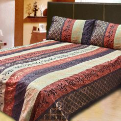 Avioni Jaipuri Gold Double Bedsheet in Dark Brown and Blue Colour