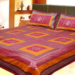 Avioni Jaipuri Gold Double Bedsheet in yellow and Dark Pink Colour