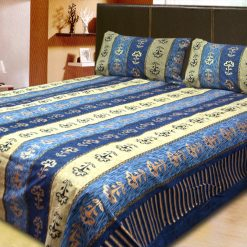 Avioni Jaipuri Gold Double Bedsheet in Cream and Light Blue Colour