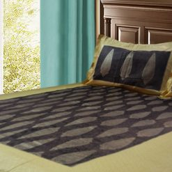 Jaipuri Double Bedsheet in Gold and Dark Brown by Avioni