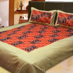 100% Cotton Double Jaipuri Gold Designer Bed sheet Orange