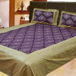 100% Cotton Double Jaipuri Gold Designer Bed sheet Purple