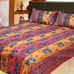 100% Cotton Double Jaipuri Gold Bed sheet Cherry and Dark Yellow