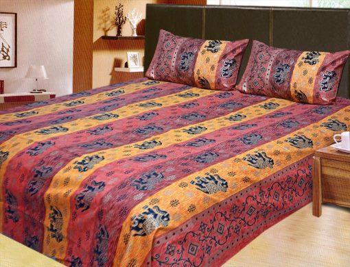 100% Cotton Double Jaipuri Gold Bed sheet Cherry and Dark Yellow
