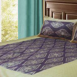 Jaipuri Gold Double Bedsheet in purple and yellow Colour by Avioni