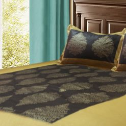 Jaipuri Gold Double Bedsheet in Dark Brown with ethnic Print by Avioni