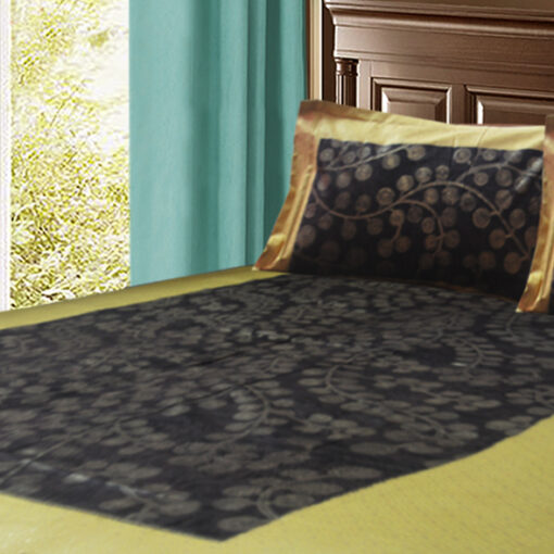 Jaipuri Gold Double Bedsheet black Colour ethnic print by Avioni