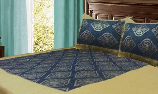 Jaipuri Gold Double Bedsheet in blue ethnic print by Avioni