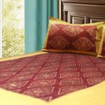Jaipuri Gold Double Bedsheet 100% Cotton in Red Color by Avioni