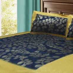 Jaipuri Gold Double Bedsheet 100% Cotton in Blue Color with ethnic print by Avioni