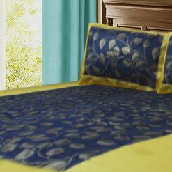 Jaipuri Gold Double Bedsheet 100% Cotton Blue color ethnic print by Avioni