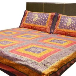 Jaipuri Gold 100% Cotton Premium Kantha Work Double Bedsheet By Avioni