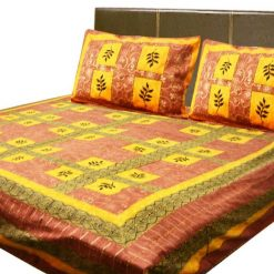 Double Jaipuri Gold 100% Cotton Premium Kantha Work Bedsheets by Avioni