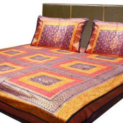 Double Jaipuri Gold 100% Cotton Premium Bedsheets by Avioni (90 X 108 Inches)
