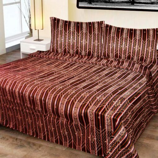 Double Bed Cover Cotton Multicolor Abstract Design