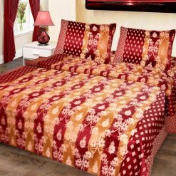 Double Bed Cover Cotton Floral Golden In Red Border