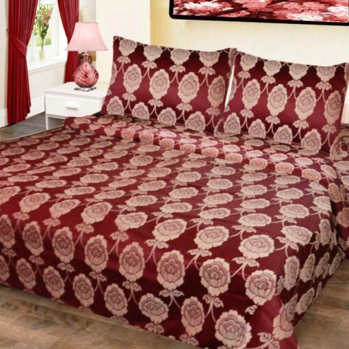 Double Bed Cover Cotton Floral Red In White