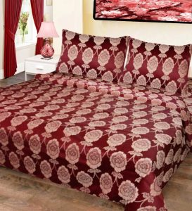 Double Bed Cover Cotton Floral Brown In White Color