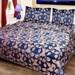 Double Bed Cover Cotton Royal Blue With White Leaves