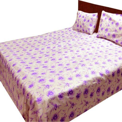Double Bed Sheet 150 Tc 100% Fine Cotton Purple Floral By Avioni