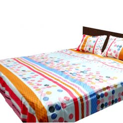 Double Bed Sheet 200 Tc 100% Fine Cotton Peach Rounds By Avioni