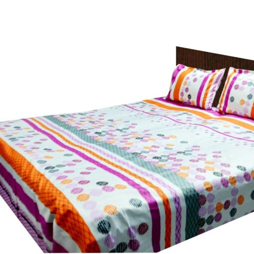 Double Bed Sheet 200 Tc 100% Fine Cotton Pink Rounds By Avioni