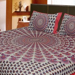 Double Bed Sheet Ethnic Print Pink Color 100% Fine Cotton