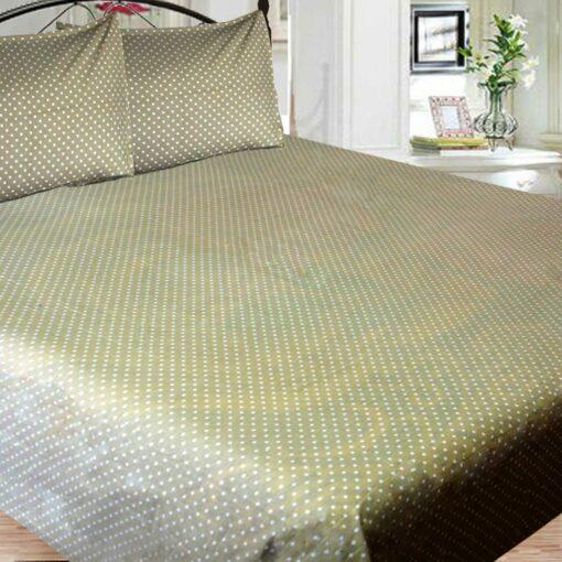 Double Bed Sheet 100% Cotton, 210 Tc Very Fine Cotton Polka Dots Beige Color By Avioni