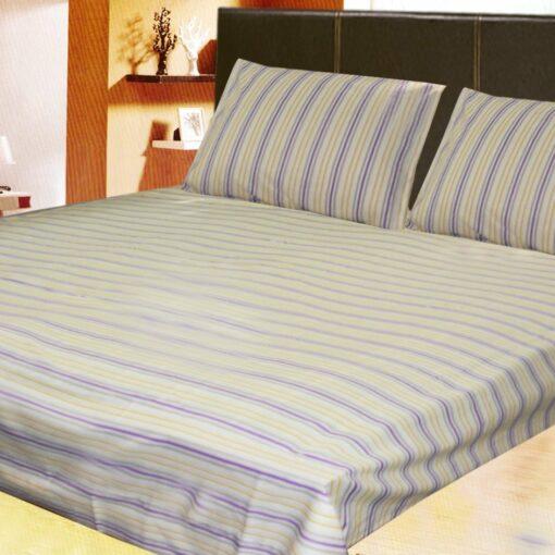 Double Bed Sheet 100% Cotton, 210 Tc Very Fine Cotton Plain In Khakhi Color