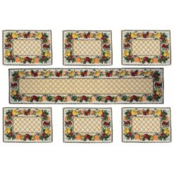 Table Mats (Set Of Six) With Table Runner On Jacquard Fabric