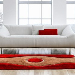 Designer Rugs For Living Room – Shaggy Modern Rugs with Red And Beige Design – Contemporary Rugs by Avioni