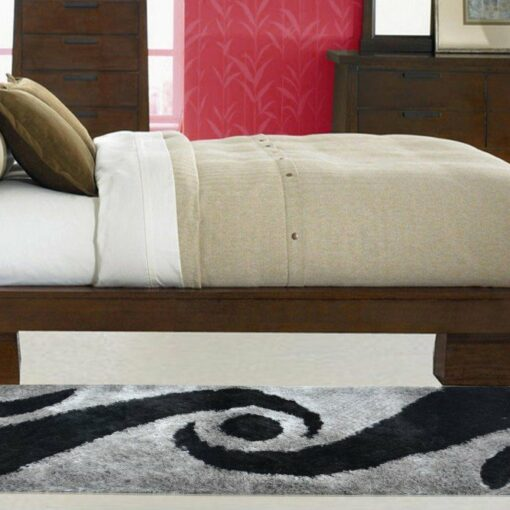 Handloom Shaggy Black And Gray Carpet/Bedside Runners (22X55 Inch) by Avioni