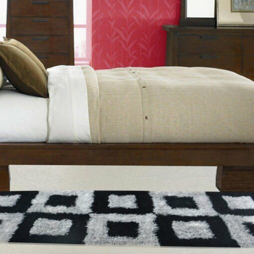 Handloom Shaggy Black And Gray Square Carpet/Bedside Runners (22X55 Inch) by Avioni