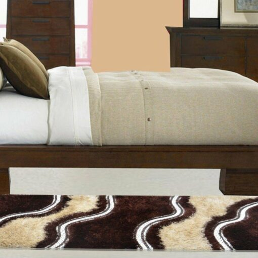 Handloom Shaggy Coffee And Beige Carpet/Bedside Runners 22X55 Inch by Avioni